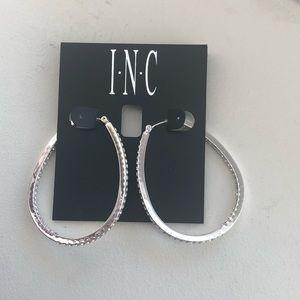 New INC silver rhinestone Oblong hoop earrings